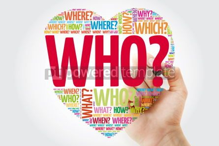 Business: WHO? Question heart with marker Questions words concept backgro #10960