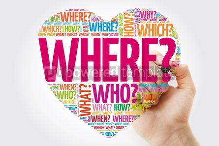 Business: Where? Question heart Questions words concept background with m #10961