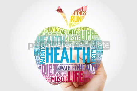 Health: Health apple word cloud with marker health concept background #10985