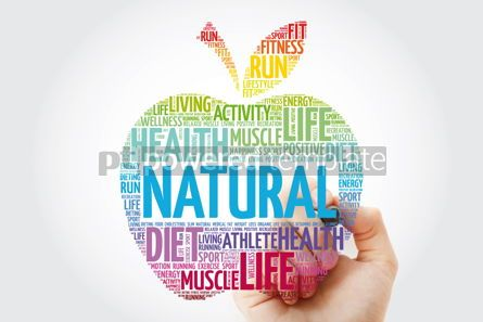 Health: Natural apple word cloud with marker health concept background #10986