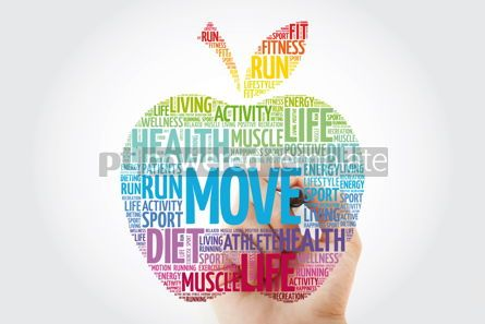 Health: MOVE apple word cloud with marker health concept background #10987
