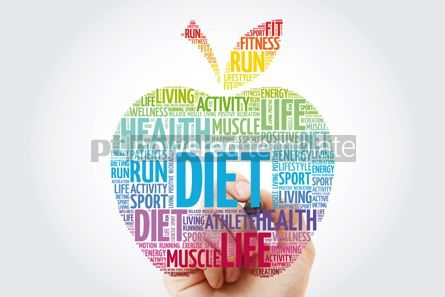 Health: DIET apple word cloud with marker health concept background #10988