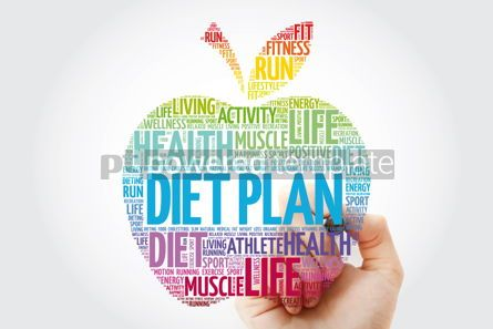 Health: Diet Plan apple word cloud with marker health concept backgroun #10990