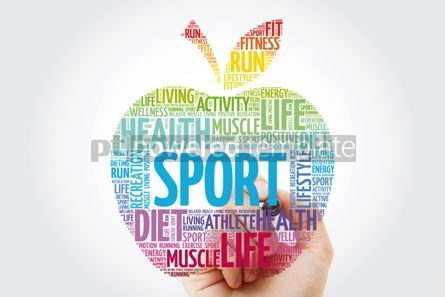 Health: Sport apple word cloud with marker health concept #10993