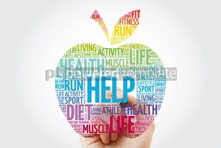 Health: Help apple word cloud with marker health concept background #10994