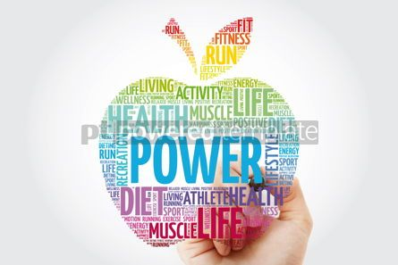 Health: Power apple word cloud collage with marker health concept backg #10996