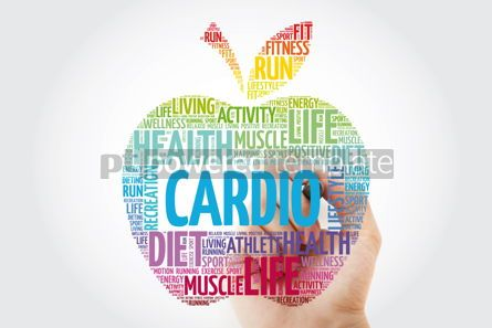 Health: Cardio apple word cloud collage with marker health concept back #10997