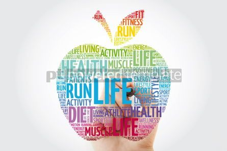 Health: LIFE apple word cloud with marker health concept background #10998