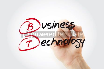 Business: Hand writing BT - Business Technology with marker acronym busin #11036