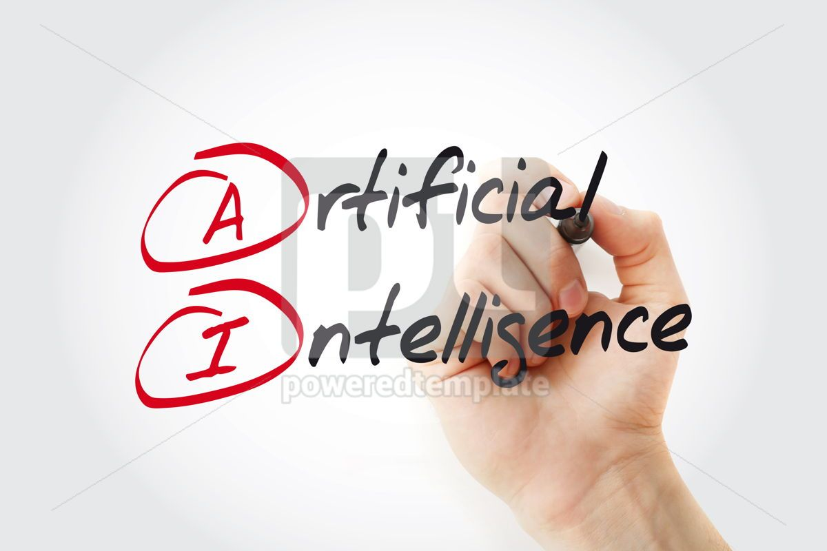 Hand writing AI - Artificial Intelligence with marker acronym b, 11039, Business — PoweredTemplate.com