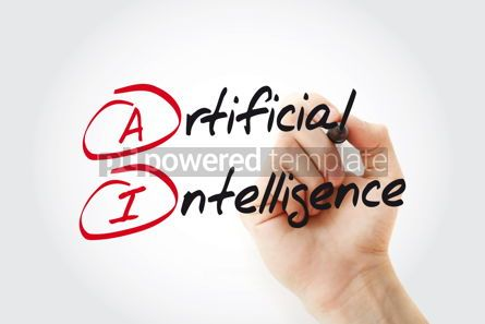 Business: Hand writing AI - Artificial Intelligence with marker acronym b #11039