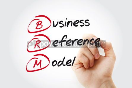 Business: Hand writing BRM - Business Reference Model with marker acronym #11040