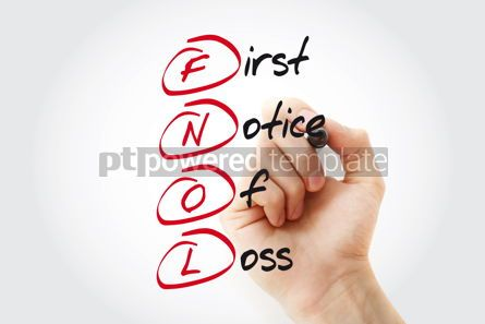 Business: Hand writing FNOL - First Notice Of Loss with marker acronym bu #11043