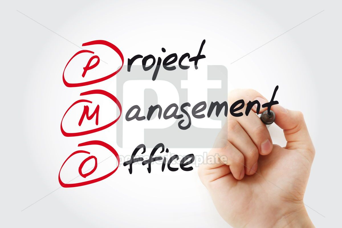 Hand writing PMO - Project Management Office with marker acrony, 11059, Business — PoweredTemplate.com