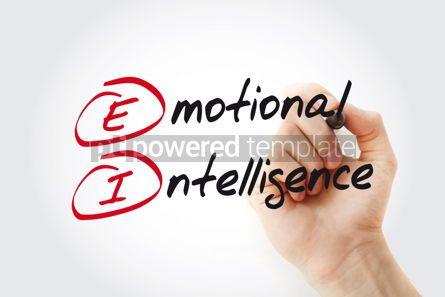 Business: Hand writing EI - Emotional Intelligence with marker acronym bu #11065
