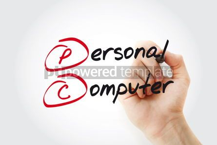 Business: Hand writing Personal Computer with marker concept background #11073
