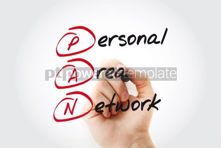 Business: Hand writing PAN Personal Area Network with marker acronym busi #11076