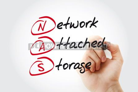 Business: NAS Network Attached Storage with marker acronym concept #11090