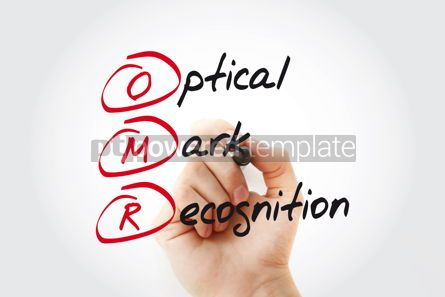 Business: OMR - Optical Mark Recognition acronym with marker technology c #11094