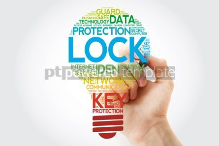 Business: LOCK bulb word cloud with marker business concept background #11095