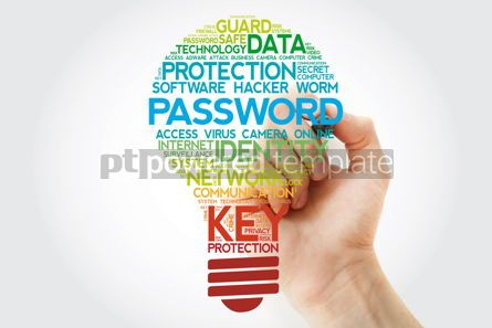 Business: PASSWORD bulb word cloud with marker business concept #11097