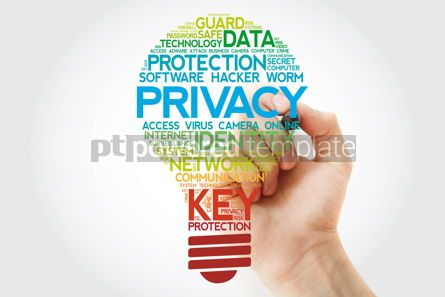 Business: PRIVACY bulb word cloud with martker business concept #11099