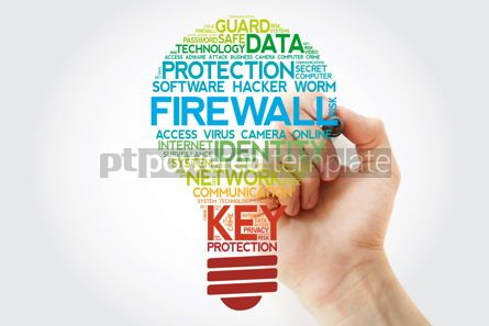 Business: FIREWALL bulb word cloud with marker business concept #11100