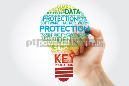 Business: PROTECTION bulb word cloud collage with marker business concept #11103