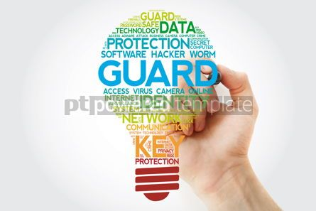 Business: GUARD bulb word cloud with marker business concept background #11104