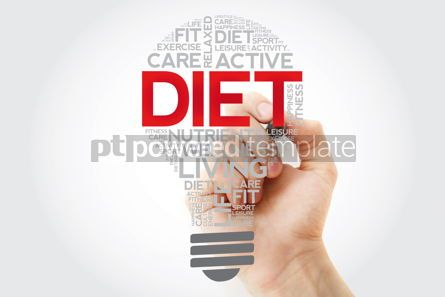 Health: DIET bulb word cloud with marker health concept background #11105
