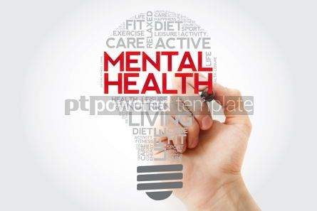 Health: Mental health bulb word cloud collage with marker health concep #11108