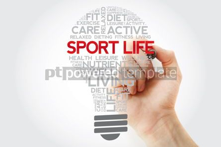 Health: Sport Life bulb word cloud collage with marker health concept #11110