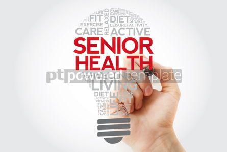 Health: Senior health bulb word cloud with marker health concept #11111