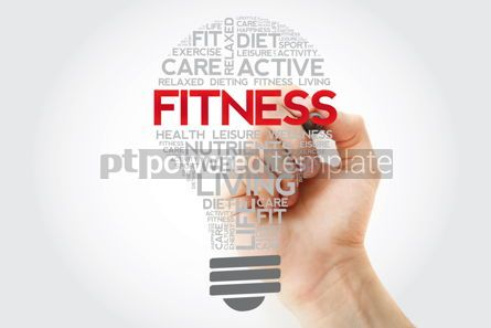 Health: Fitness bulb word cloud collage with marker health concept back #11112