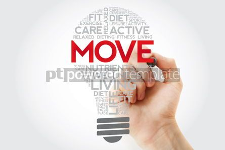 Health: MOVE bulb word cloud collage with marker health concept backgro #11115