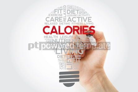 Health: CALORIES bulb word cloud with marker health concept background #11120