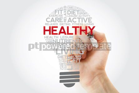 Health: HEALTHY bulb word cloud collage with marker health concept back #11121