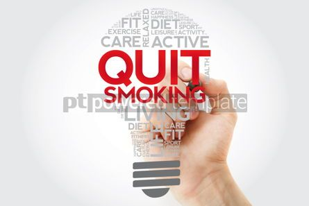 Health: Quit Smoking bulb word cloud collage with marker health concept #11122