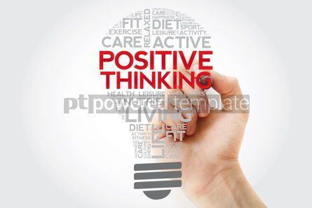 Health: Positive thinking bulb word cloud collage with marker health co #11123