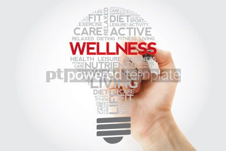 Health: WELLNESS bulb word cloud collage with marker health concept bac #11124