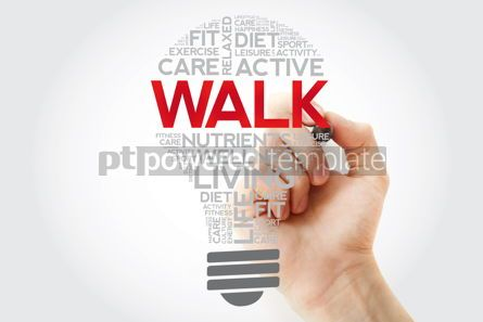 Health: WALK bulb word cloud collage with marker health concept backgro #11125