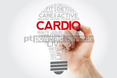 Health: CARDIO bulb word cloud collage with marker health concept backg #11126