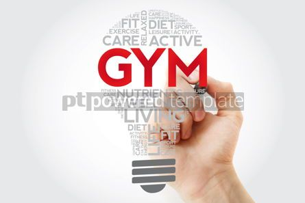 Health: GYM bulb word cloud collage with marker health concept backgrou #11128