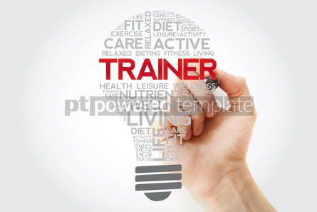 Health: TRAINER bulb word cloud collage with marker health concept back #11129