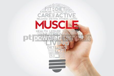 Health: Muscle bulb word cloud with marker health concept #11130