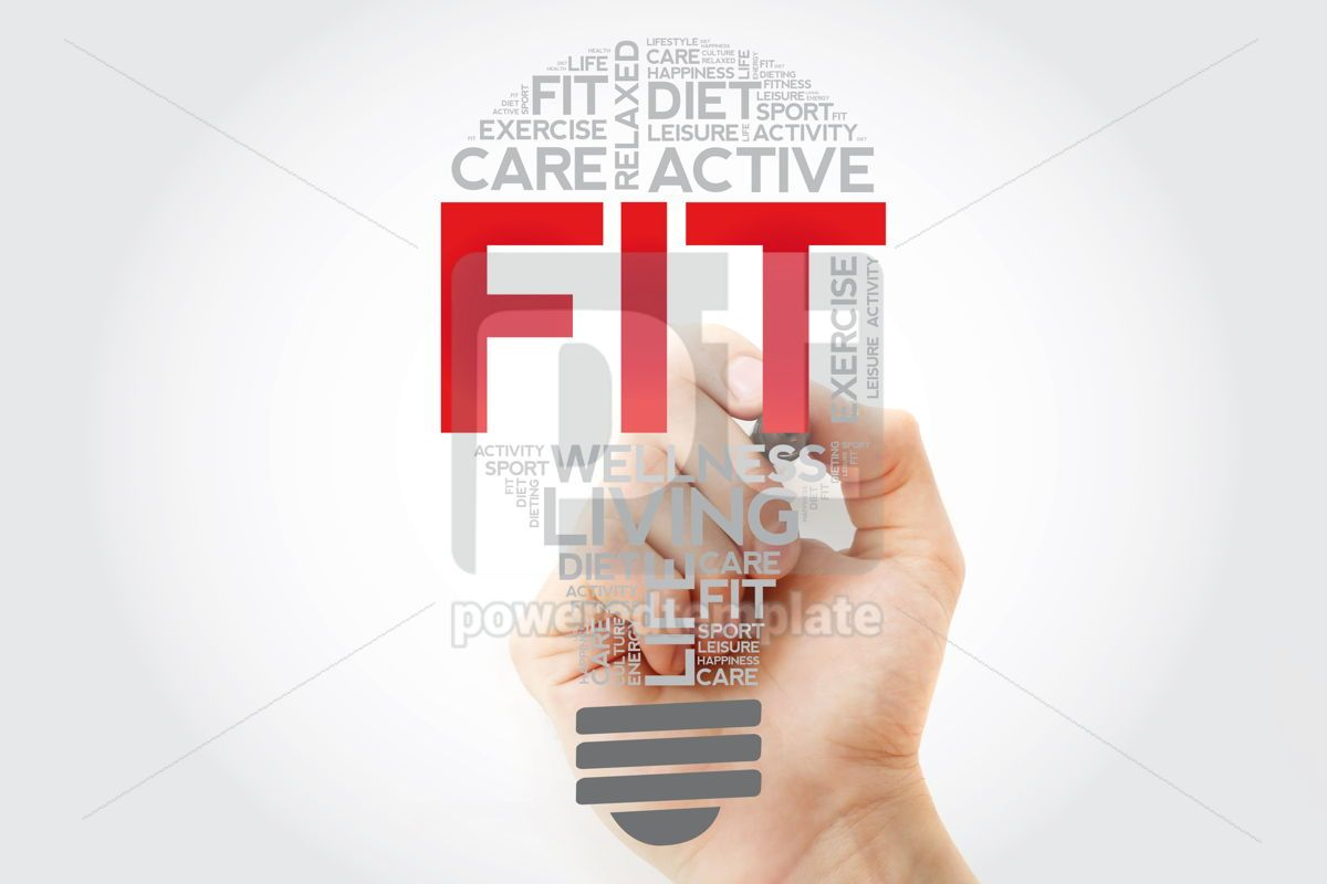 Fit Bulb Word Cloud With Marker Health Concept Background Foto Stok 67111