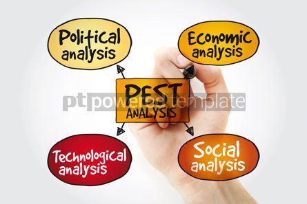 Business: PEST analysis mind map with marker political economic social #11153