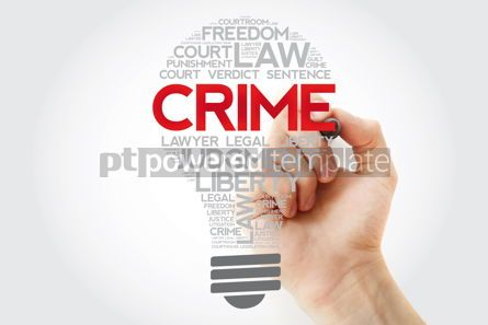 Business: Crime bulb word cloud collage with marker concept background #11167