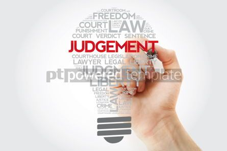 Business: Judgement bulb word cloud collage with marker law concept backg #11168