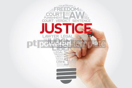 Business: Justice bulb word cloud collage with marker law concept backgro #11180